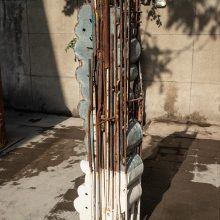 """Mahmoud Bakhshi, from """"Fishing"""" project, installation of 8 + 1 pieces, (iron, galvanized sheet, aluminum, wood and paint), size: each 2 m, overall size: 16 m, unique edition, 2019-2020"""