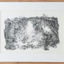 """Zahra Ghyasi, """"Cavescape No. 2"""", from """"Arithmomania"""" series, pencil on paper, 42 x 54.5 cm, 2019"""