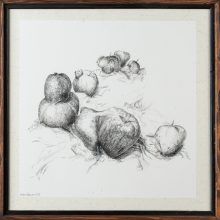 """Zahra Ghyasi , """"Apples"""", from """"Divergence"""" series, ink on chinese paper, 40 x 40 cm, 2020"""