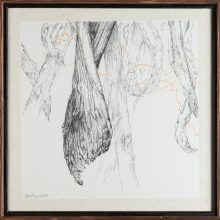 """Zahra Ghyasi , """"Asparagus"""", from """"Divergence"""" series, ink on chinese paper, 40 x 40 cm, 2020"""