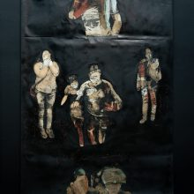 """Mojtaba Amini, untitled, from """"I Will Return"""" series, mixed media ( paper, sanding cloth and paint), 330 x 145 cm, 2020"""
