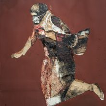 "Mojtaba Amini, untitled, from ""I Will Return"" series, mixed media ( paper, sanding cloth and paint), 228 x 138 cm, 2020"