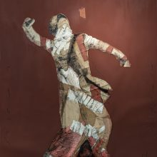 """Mojtaba Amini, untitled, from """"I Will Return"""" series, mixed media ( paper, sanding cloth and paint), 228 x 138 cm, 2020"""