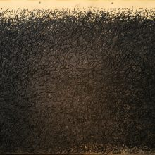 "Mojtaba Amini, untitled, from ""I Will Return"" series, mixed media ( charcoal on sandpaper), 140 x 200 cm, frame size: 160 x 220 cm, 2020"