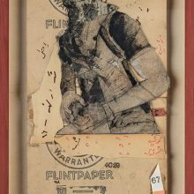 "Mojtaba Amini, untitled, from ""Tear in Town"" series, collage (paper, sandpaper and paint), 65 x 31.5  cm, 2020"