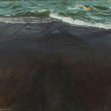 "Hanie Farhadinik, untitled, from ""Swimmer"" series, oil on canvas, 40 x 50 cm, frame size: 50 x 60 cm, 2020"