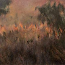 "Somaiyeh Khodaei, untitled, from ""Metamorphosis"" series, oil on wood, 60 x 90 cm, frame size: 62 x 92 cm, 2021"