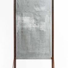 "Majid Biglari, ""Black Flag – Wall, No.2"", from ""The Possibility of Real Life's Openness to Experience"" series, rusted steel, tarpaulin, paint, 80 x 40 x 180 cm, unique edition, 2020"