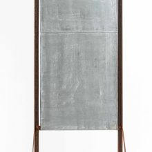 "Majid Biglari, ""Black Flag – Wall, No.1"", from ""The Possibility of Real Life's Openness to Experience"" series, rusted steel, tarpaulin, paint, 80 x 40 x 180 cm, unique edition, 2020"