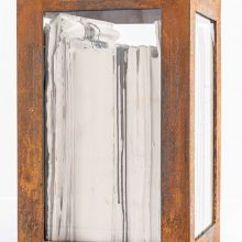 "Majid Biglar, ""Memorial No. 50 – Block No.2"", from ""The Possibility of Real Life's Openness to Experience"" series, rusted steel, glass, book, glue, paraffin, 40 x 25 x 25 cm, unique edition, 2020"