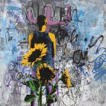 """Daryoush Gharahzad, """"Self-Abstract"""", acrylic on canvas, 126 x 126 cm, 2020"""