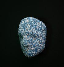 """Ali Honarvar, """"Self Portrait"""", Glass Beads – Plaster, 2018"""