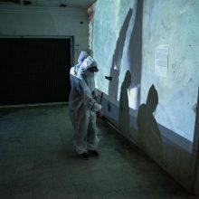"Mahmoud Bakhshi, ""Disinfection"" performance, 2020"