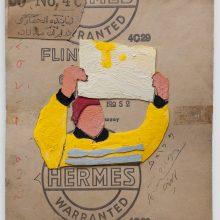 """Mojtaba Amini, """"Yellow Movements"""", collage, (paper, sandpaper), 35 x 30 cm, 2019"""