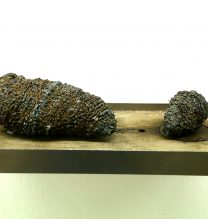 "Mehrdad Eskandari, Pieces 1 & 2, From ""Black Hole"" series, Iron, wood and magnet In box (32 x 18 x 12 cm), 2016"