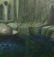 """Sheida Arab Yazdi, Untitled, From """"Isolation"""" series, Oil on board, 37 x 70 cm, 2017"""