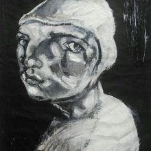 Parastou Haghi, Untitled, Acrylic and Charcoal, 58 x 75 cm, 2016