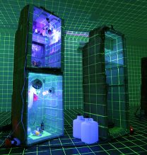 """Mamali Shafahi, From """"V [!] R o l l u r g y, #fake news and fake science"""" Series, Installation, Mixed Media (Interior of Refrigerator, Various Dimensions), 2017"""