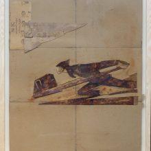 """Mojtaba Amini, """"No. 80-60"""", collage, (paper, sandpaper), 75.5 x 63.5 cm, 2018"""