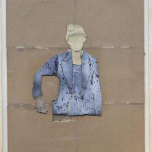 """Mojtaba Amini, """"No. 60"""", collage, (paper, sandpaper), 75.5 x 63.5 cm, 2018"""