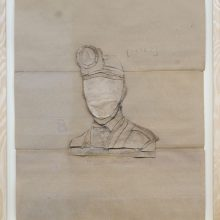 """Mojtaba Amini, """"No. 120"""", collage, (paper, sandpaper), 75.5 x 63.5 cm, 2018"""