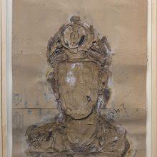"""Mojtaba Amini, """"No. 80"""", collage, (paper, sandpaper), 75.5 x 63.5 cm, 2018"""