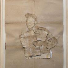 """Mojtaba Amini, """"No. 100"""", collage, (paper, sandpaper), 75.5 x 63.5 cm, 2018"""