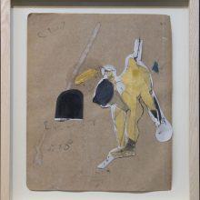 """Mojtaba Amini, """"No. 60"""", collage, (paper, sandpaper), 35 x 30 cm, 2018"""