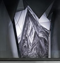"""Mehdi Abdolkarimi, """"When the Mountains Shall be Set in Motion"""" (detail), interactive photo and sound installation at Pasio, 180 x 600 x 300 cm, 2016"""