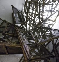 """Mahmoud Mahroumi, """"A Disappointing Idea to Build a Roof On a Lit Candle"""" (detail), installation at Pasio, 2018"""