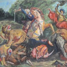 """Keiman Mahabadi, Lion Hunt (After Delecroix), From """"Interposition"""" Series, Oil on Cardboard, 50 x 32 cm, 2016"""