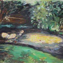 "Keiman Mahabadi, ""Ophelia (After Millias)"", From ""Interposition"" Series, Oil on Cardboard, 50 x 32 cm, 2016"