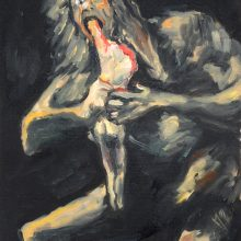 """Keiman Mahabadi, """"Saturn Devouring His Son (After Goyas)"""", From """"Interposition"""" Series,Oil on Cardboard, 41 x 23 cm, 2016"""