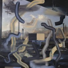 "Negar Karimkhani, ""Tehran Grey"" , from "" Tehran's Pallet"" series, oil on photograph, 69 x 48 cm, 2018"