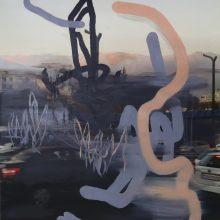 "Negar Karimkhani, ""Pink Mountains"" , from "" Tehran's Pallet"" series, oil on photograph, 69 x 48 cm, 2018"