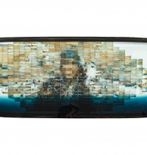 """Arya Tabandehpoor, untitled, from """"Humans"""" series, photo print on metallic paper mounted on shattered car windscreen, unique edition, 2015"""