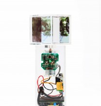 "Arya Tabandehpoor, untitled, from ""Trees"" series, transferred photograph, glass cube, electric motor, sensors, electric circuits, power adaptor, and wiring in plexiglass boxes, unique edition, 7 x 7 x 25 cm, 2015"