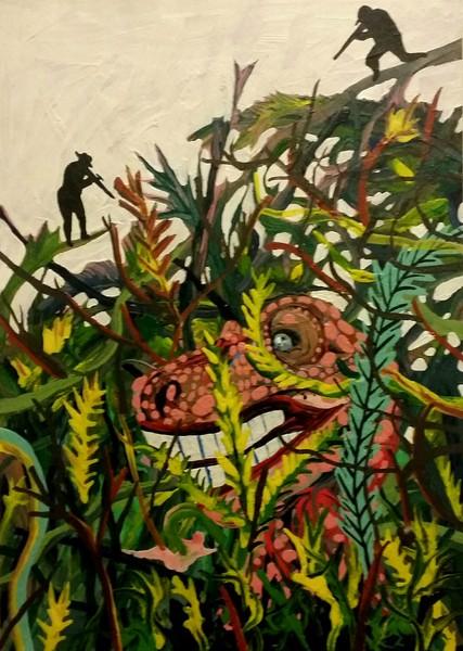 Jurassic Park, Acrylic on Cardboard, 35 x 25 cm, 2015