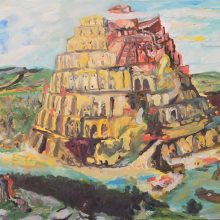 """Keiman Mahabadi, The Tower of Babel (After Bruegel), From """"Interposition"""" Series, Oil on Cardboard, 35 x 50 cm, 2016"""