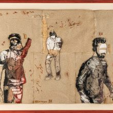 """Mojtaba Amini, untitled, from """"Tear in Town"""" series, collage (paper, sandpaper and paint), 61 x 82 cm, 2020"""