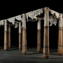 "Mojtaba Amini, ""Halab! Halab!"", (wood, iron, goatskin, salt), 136 x 230 x 505 cm, 2017"