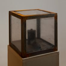 """Majid Biglari, """"March 16, 1988"""", from """"The Experience of Dishevelment"""" series, mixed media (steel, polycarbonate, wood, metal cans, metal capsule), 40 x 40 x 40 cm, unique edition, 2017"""