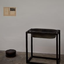 "Majid Biglari, ""January 13, 2017"", from ""The Experience of Dishevelment"" series, mixed media (wood, metal, bitumen, bathtub, etc.), 87 x 50 x 88 cm, unique edition, 2017"