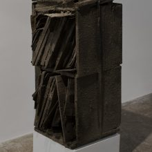"""Majid Biglari, untitled, from """"The Experience of Dishevelment"""" series, mixed media (steel strap, wood, glass, cement concrete, grease, etc.), size without pedestal: 39 x 40 x 94 cm, size with pedestal: 39 x 40 x 117 cm, unique edition, 2017"""