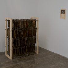 "Majid Biglari, untitled, from ""The Experience of Dishevelment"" series, mixed media (wood, archive folder, paper, organic glue, oil, etc.), 96 x 42 x 120 cm, unique edition, 2017"
