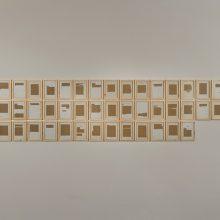 "Majid Biglari, ""13 Aban, 1358"", from ""The Experience of Dishevelment"" series, 103 pieces, mixed media (paper, cardboard, etc), 18 x 25 cm, installation view, 2017"