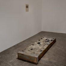 "Majid Biglari, untitled, from ""The Experience of Dishevelment"" series, mixed media (steel, cardboard, paraffin, wood, cement concrete, etc.), 56 x 172 x 15 cm, unique edition, 2017"