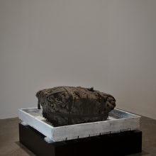 """Majid Biglari, untitled, from """"The Experience of Dishevelment"""" series, mixed media (steel, cement concrete, wood, cardboard, textile, etc.), size without pedestal: 65 x 65 x 9 cm, size with pedestal: 65 x 66 x 24 cm, unique edition, 2017"""
