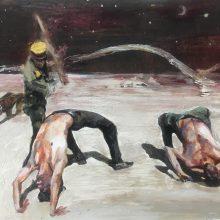 "Mahsa Nouri, ""Bridge"", from ""Return"" series, oil on paper, 46 x 60 cm , 2020"
