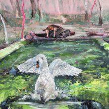 "Mahsa Nouri, untitled, from ""Return"" series, oil on paper, 46 x 60 cm, 2020"